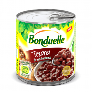 Fasole rosie boabe Bonduelle Texana in sos barbeque, Cutie,  430 g