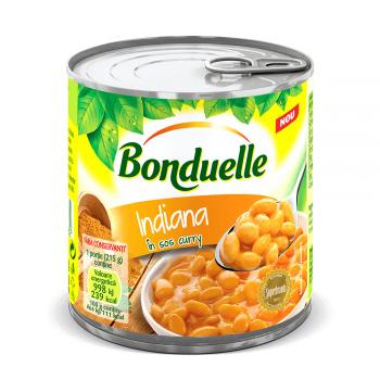 Fasole alba Bonduelle Indiana in sos curry, cutie, 430 g